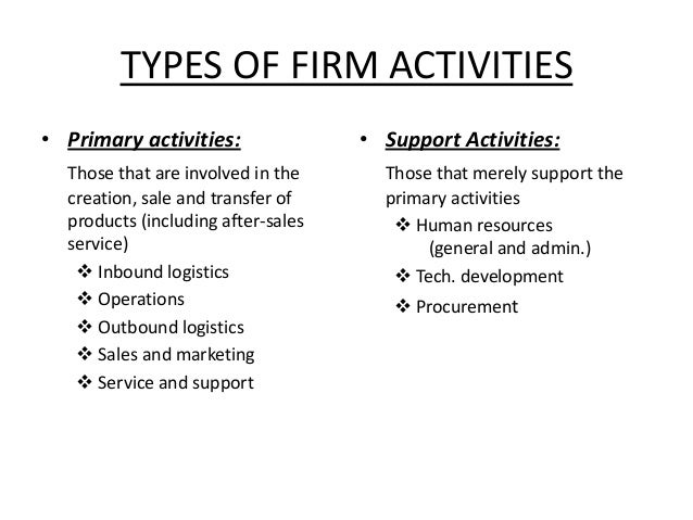 primary and support activities of value The value chain of porter comprises of total 9 steps the first 5 are the primary activities which are the basics in any company and are the activities which provide.