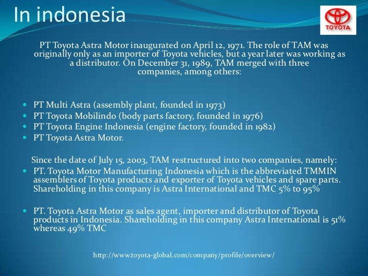toyota distribution essay Toyota prius marketing plan toyota motor corporation is a multinational is the toyota sales, marketing, and distribution subsidiary devoted to.