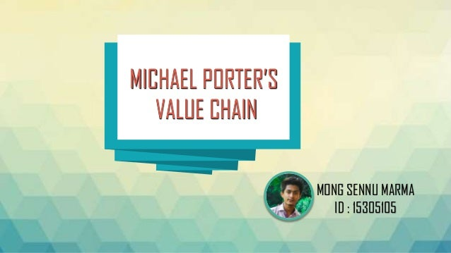 MICHAEL PORTER'S VALUE CHAIN MICHAEL PORTER'S VALUE CHAIN MONG SENNU MARMA ID : 15305105