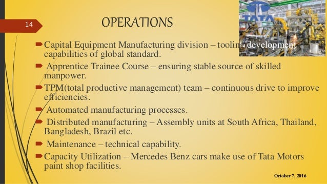 value chain of tata motors Tata group presentation  those companies do their operations in more than 80 countries across six continents the value chain: we are going to focus on one the.