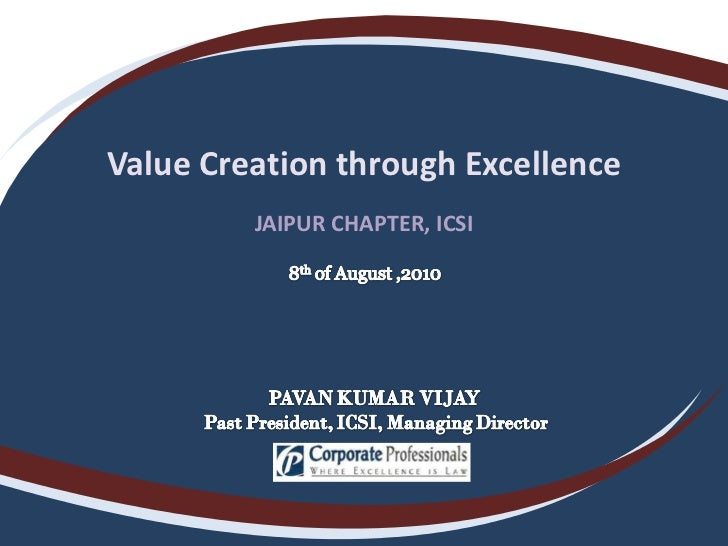Value Creation through Excellence JAIPUR CHAPTER, ICSI