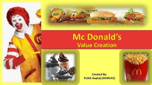 Mc Donald's Value Creation Created By: Pulkit Gupta(13DM142)