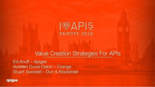 "1 Value Creation Strategies For APIs! Ed Anuff – Apigee"" Aurelien Duval-Delort – Orange"" Stuart Swindell – Dun & Bradstreet"