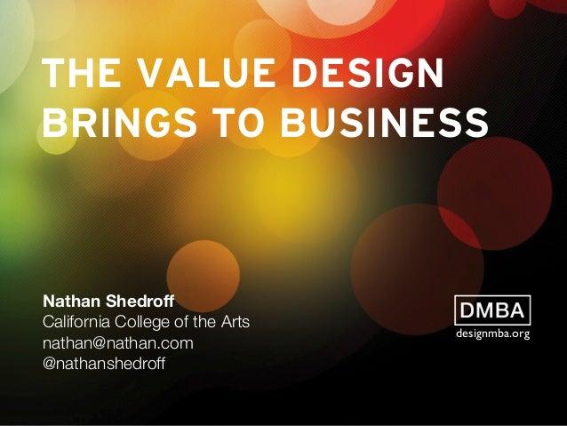 THE VALUE DESIGN BRINGS TO BUSINESS Nathan Shedroff California College of the Arts nathan@nathan.com @nathanshedroff design...