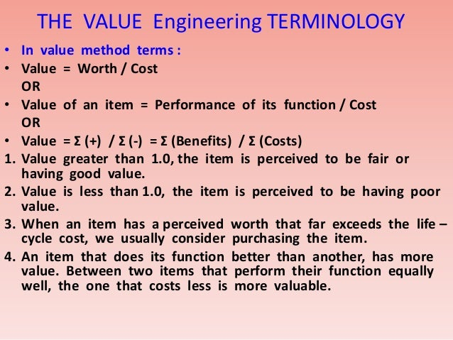 Value Engineering Short Over View Ppt