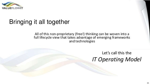 Bringing it all together All of this non-proprietary (free!) thinking can be woven into a full lifecycle view that takes a...
