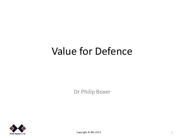 Value for Defence    Dr Philip Boxer     Copyright © BRL 2013   1