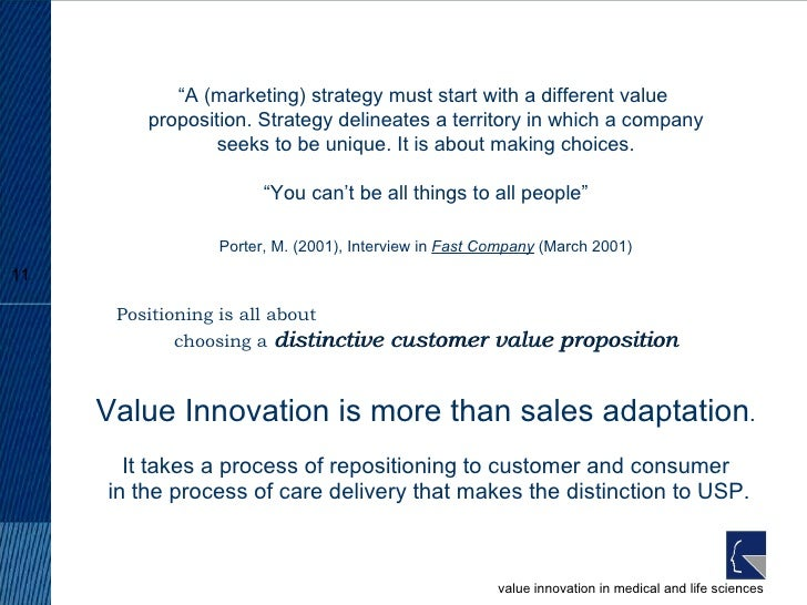 Value Innovation is more than sales adaptation . It takes a process of repositioning to customer and consumer  in the proc...