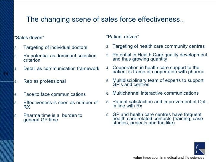 "The changing scene of sales force effectiveness.. <ul><li>"" Sales driven"" </li></ul><ul><li>Targeting of individual doctor..."