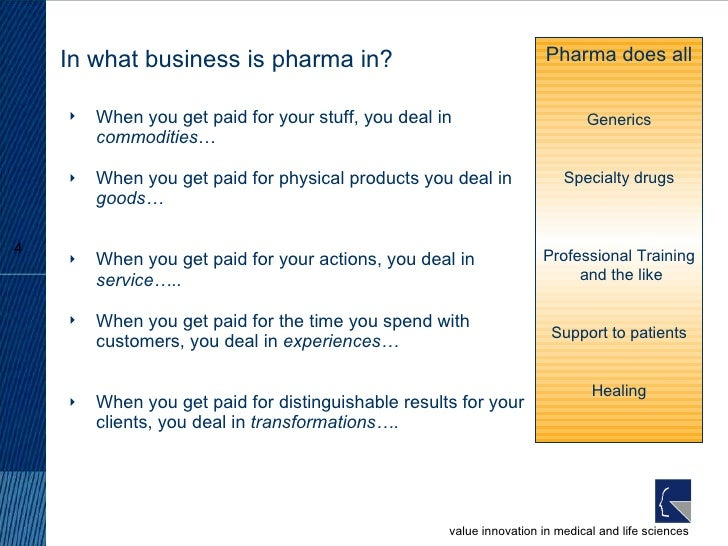 In what business is pharma in? <ul><li>When you get paid for your stuff, you deal in  commodities … </li></ul><ul><li>When...