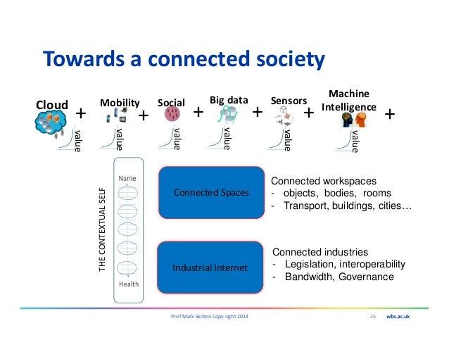 Towards a connected society 26Prof Mark Skilton Copy right 2014 Mobility value Social value Big data value + + Sensors val...