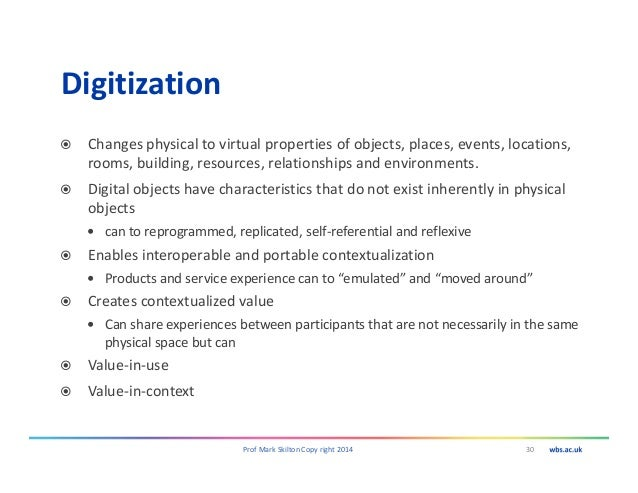 Digitization Changes physical to virtual properties of objects, places, events, locations, rooms, building, resources, rel...