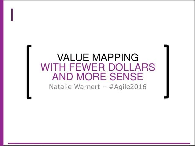 @natali ewarnert VALUE MAPPING WITH FEWER DOLLARS AND MORE SENSE Natalie Warnert – #Agile2016