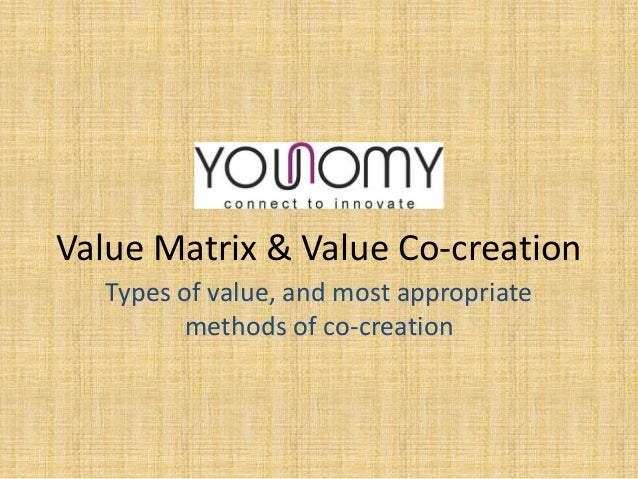 Value Matrix & Value Co-creation Types of value, and most appropriate methods of co-creation