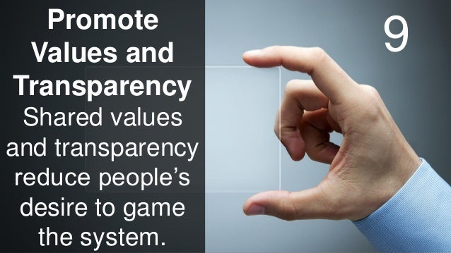 www.luxoft.com Promote Values and Transparency Shared values and transparency reduce people's desire to game the system. 9