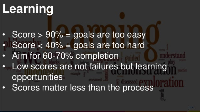 www.luxoft.com Learning • Score > 90% = goals are too easy • Score < 40% = goals are too hard • Aim for 60-70% completion ...