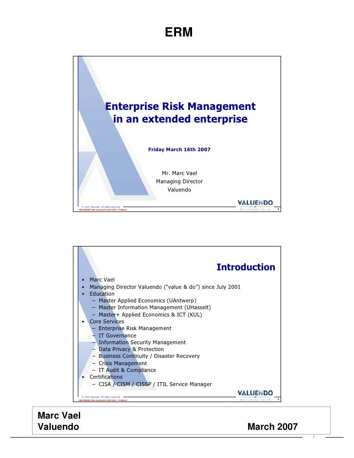 ERM                                       Enterprise Risk Management                                    in an extended ent...