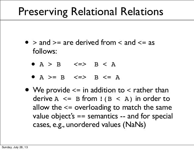 Preserving Relational Relations • > and >= are derived from < and <= as follows: • A > B <=> B < A • A >= B <=> B <= A • W...