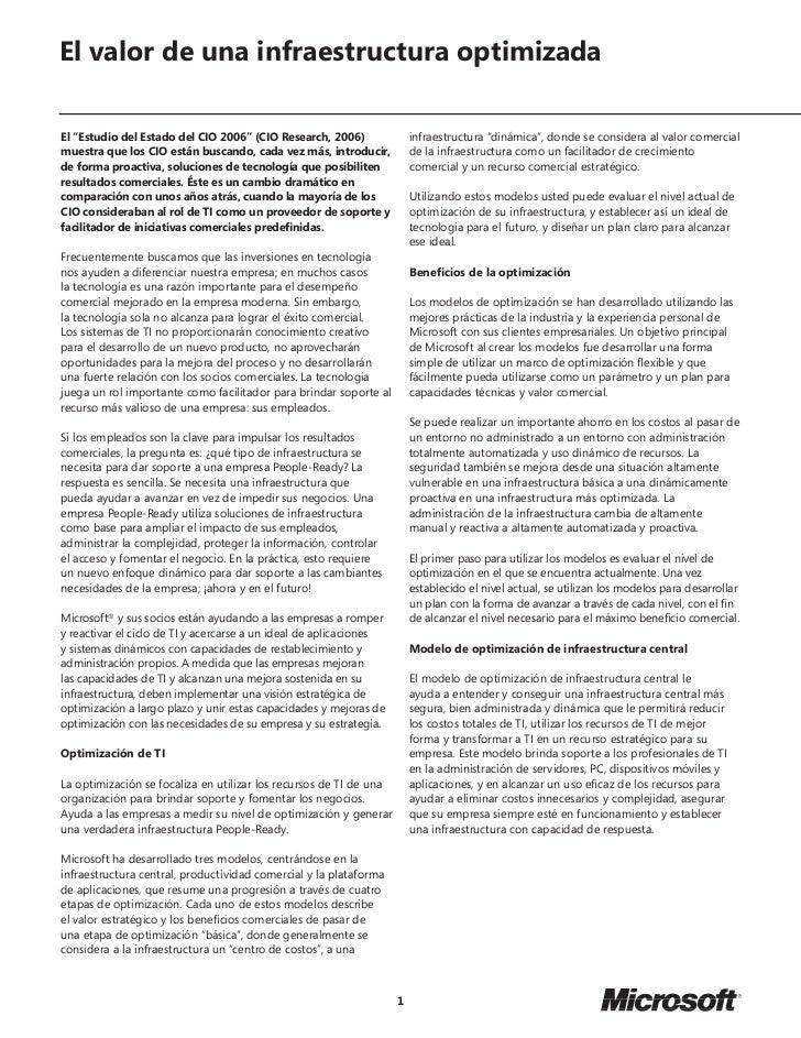 """El valor de una infraestructura optimizadaEl """"Estudio del Estado del CIO 2006"""" (CIO Research, 2006)               infraest..."""