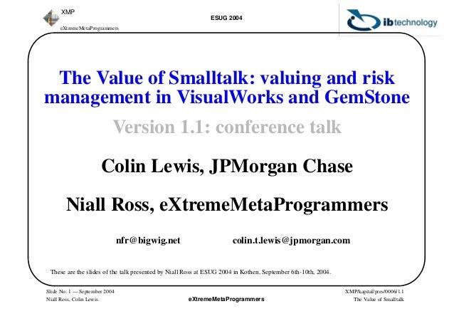 eXtremeMetaProgrammers ESUG 2004 XMP/kapital/pres/0006/1.1 The Value of Smalltalk eXtremeMetaProgrammers XMP Slide No: 1 —...