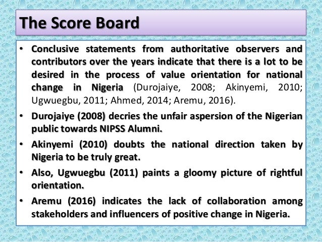The Score Board • Conclusive statements from authoritative observers and contributors over the years indicate that there i...