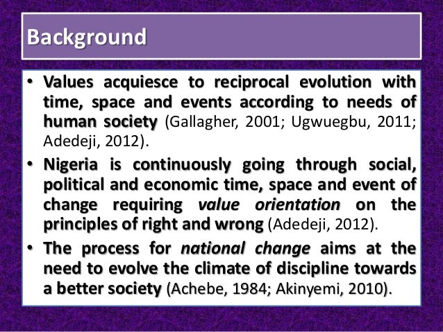 Background • Values acquiesce to reciprocal evolution with time, space and events according to needs of human society (Gal...
