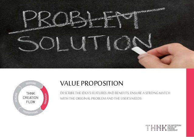 VALUE PROPOSITION DESCRIBETHEIDEA'SFEATURESANDBENEFITS;ENSUREA STRONGMATCH WITHTHE ORIGINALPROBLEMANDTHEUSER'SNEEDS 1