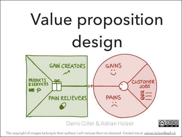 Value proposition design  Denis Gillet & Adrian Holzer The copyright of images belong to their authors. I will remove them...