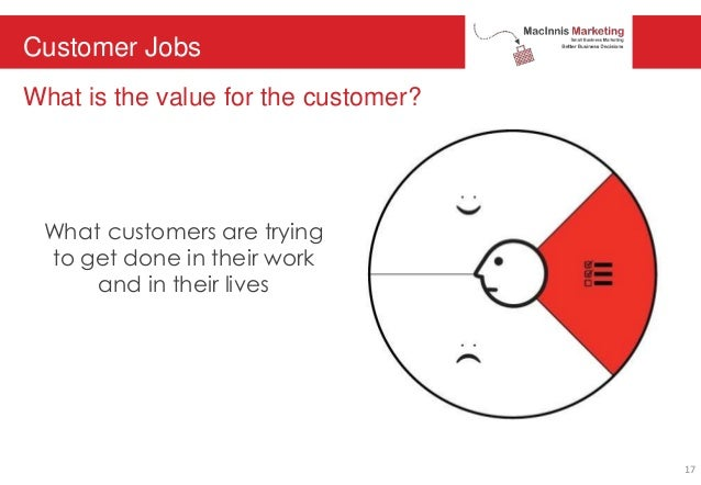 Customer Jobs What is the value for the customer? What customers are trying to get done in their work and in their lives 17