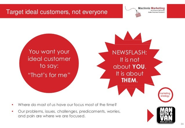 Target ideal customers, not everyone marketing strategy • Where do most of us have our focus most of the time? • Our probl...