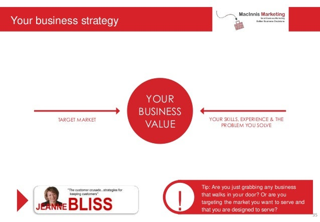 Your business strategy YOUR BUSINESS VALUE TARGET MARKET YOUR SKILLS, EXPERIENCE & THE PROBLEM YOU SOLVE ! Tip: Are you ju...
