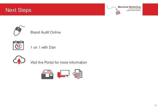 Next Steps Brand Audit Online 1 on 1 with Dan Visit the Portal for more information 70