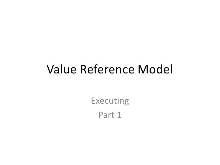 Value Reference Model       Executing         Part 1