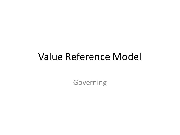 Value Reference Model       Governing