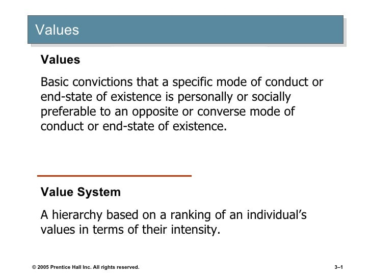 Values Values Basic convictions that a specific mode of conduct or end-state of existence is personally or socially prefer...
