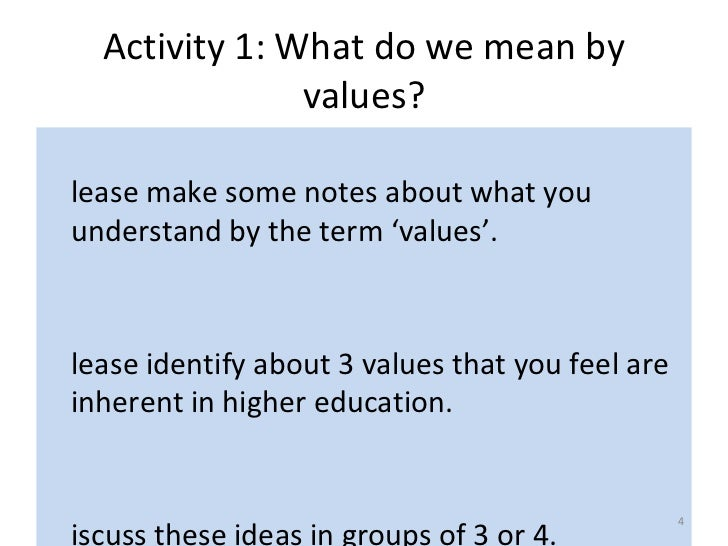 Applying personal values to education