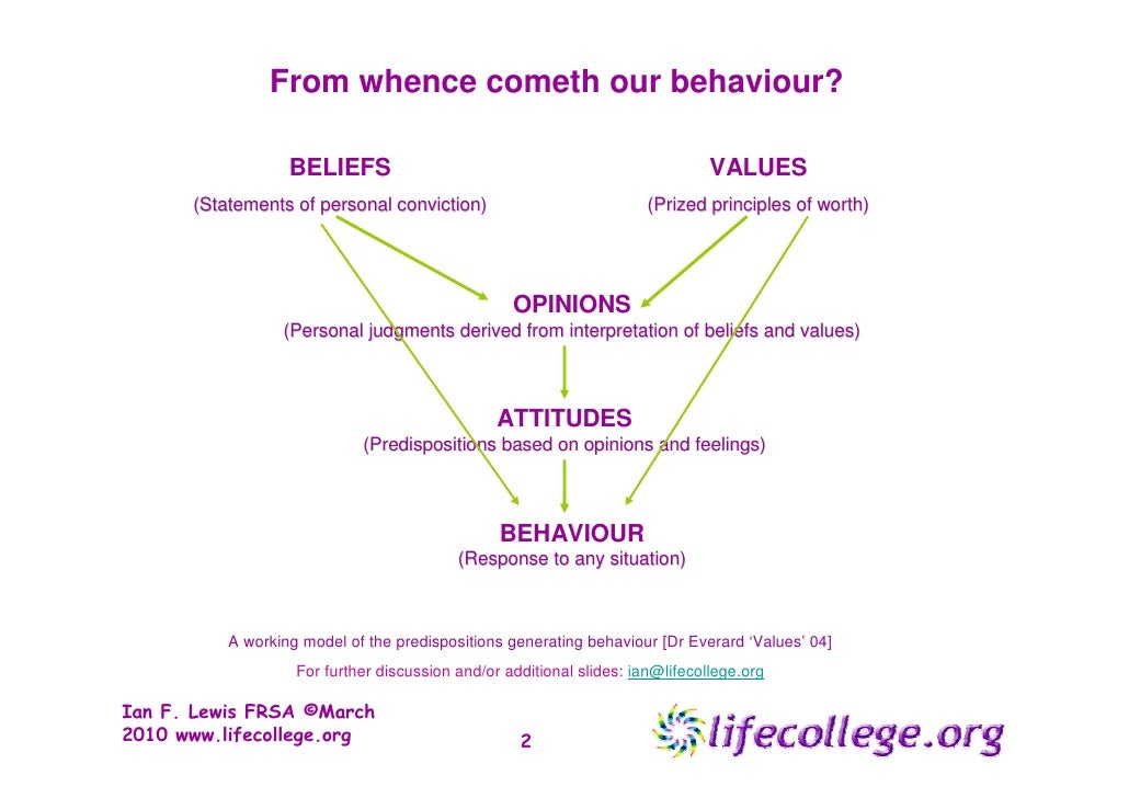 personal values belief and attitudes Culture, values and the impact at work all of the above is driven by our values values and beliefs are learnt in a (be motivated, your attitude), cultural.