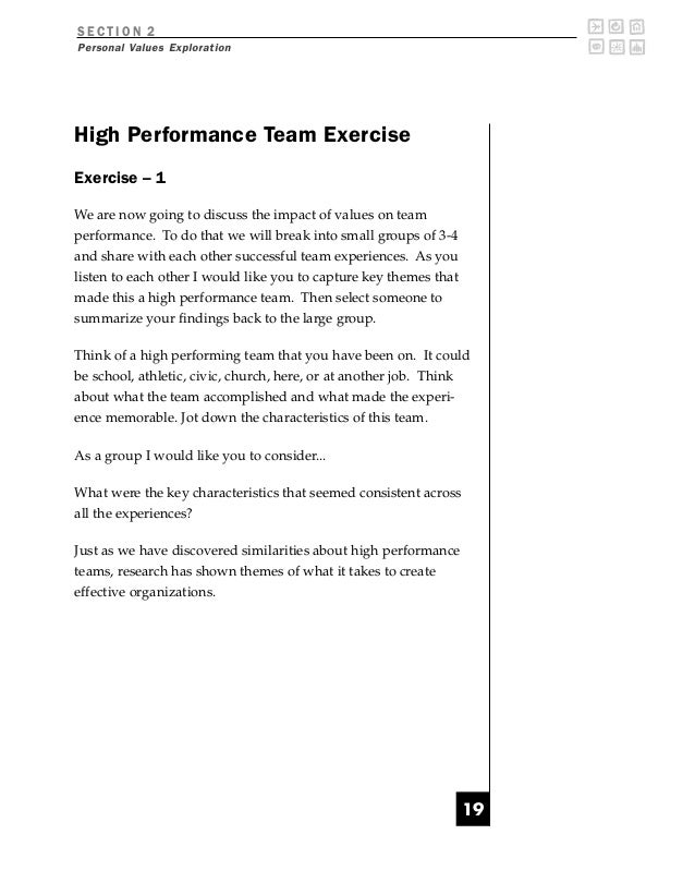 SECTION 2Personal Values ExplorationHigh Performance Team ExerciseExercise – 1We are now going to discuss the impact of va...