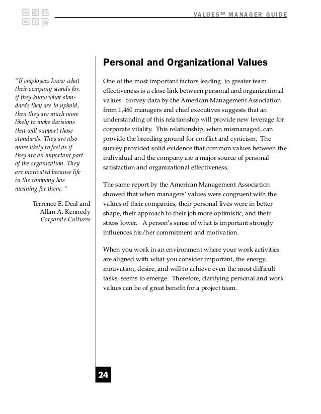"""V A L U E S SM M A N A G E R G U I D E                              Personal and Organizational Values""""If employees know w..."""