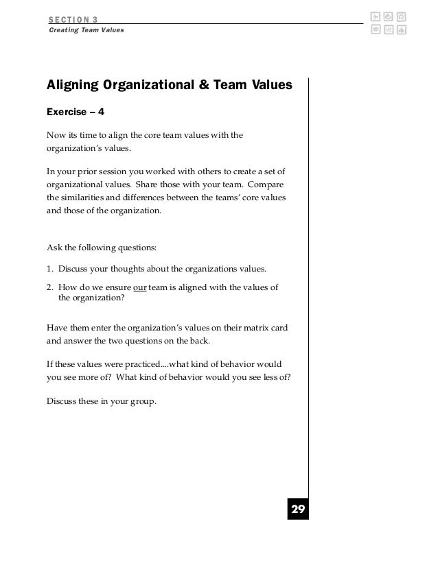 SECTION 3Creating Team ValuesAligning Organizational  Team ValuesExercise – 4Now its time to align the core team values wi...