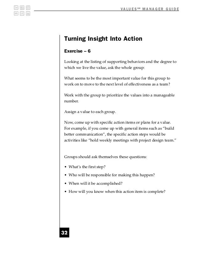 V A L U E S SM M A N A G E R G U I D ETurning Insight Into ActionExercise – 6Looking at the listing of supporting behavior...