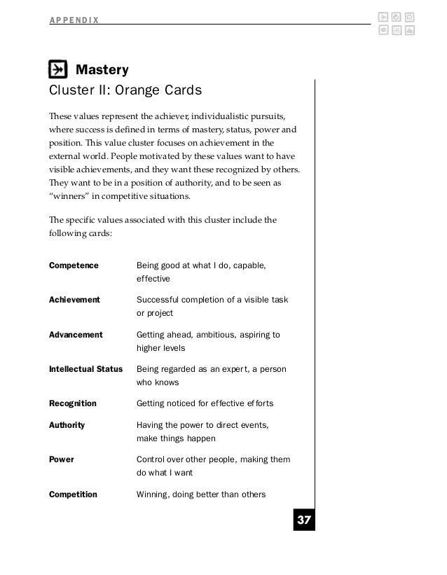 APPENDIX    MasteryCluster II: Orange CardsThese values represent the achiever, individualistic pursuits,where success is ...
