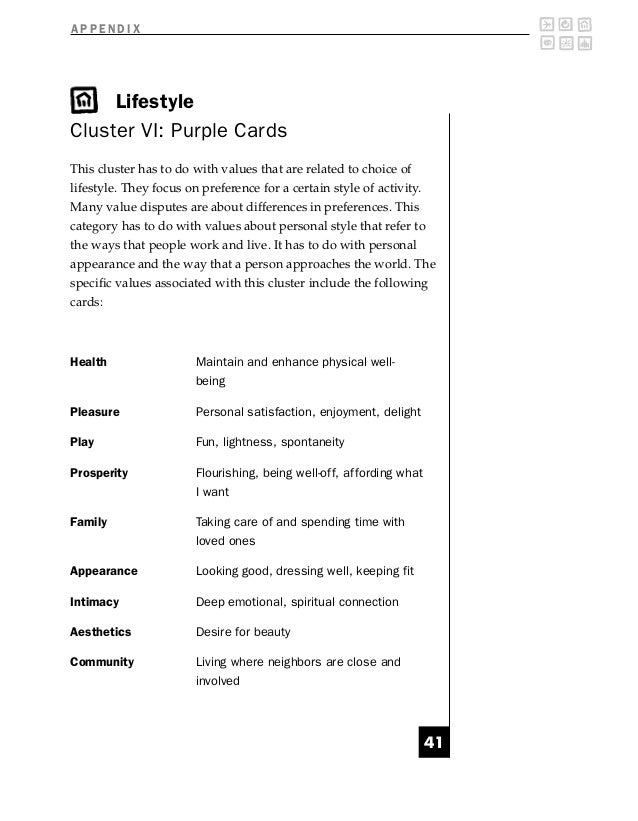 APPENDIX     LifestyleCluster VI: Purple CardsThis cluster has to do with values that are related to choice oflifestyle. T...