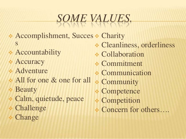 SOME VALUES. Accomplishment, Succes  Charity  s                          Cleanliness, orderliness Accountability      ...