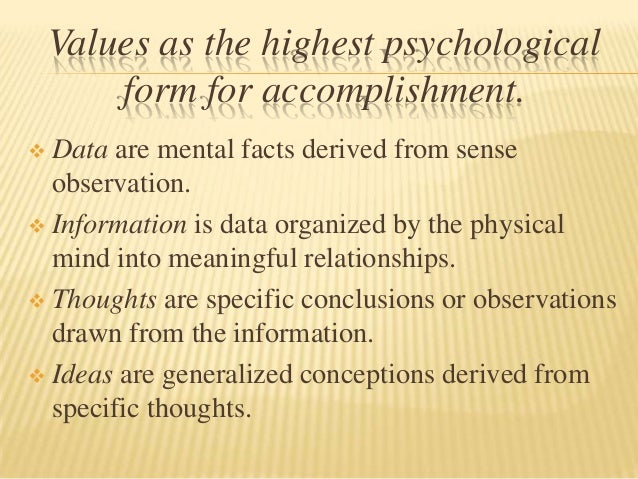 Values as the highest psychological        form for accomplishment. Data are mental facts derived from sense  observation...