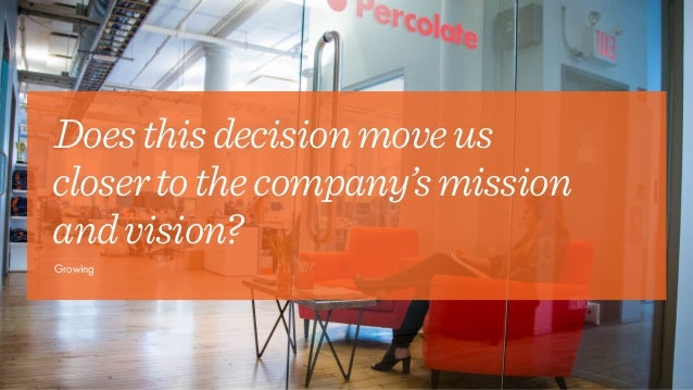 Doesthisdecisionmoveus closertothecompany'smission andvision? Growing