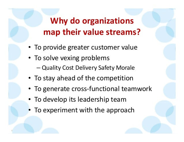 © 2014 The Karen Martin Group, Inc. 19 Why do organizations  map their value streams? • To provide greater customer value ...