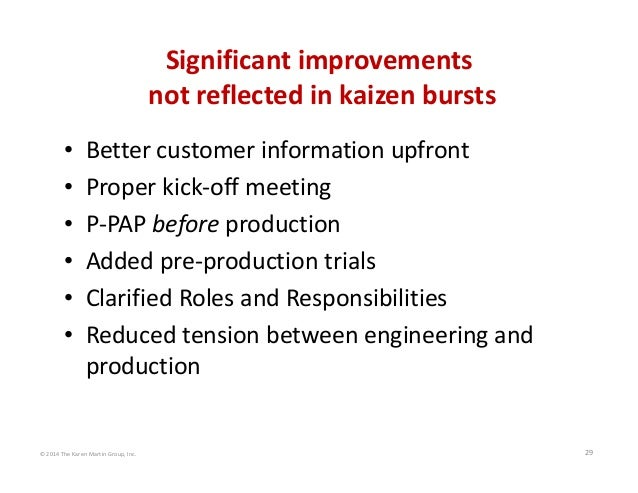 © 2014 The Karen Martin Group, Inc. 29 Significant improvements not reflected in kaizen bursts • Better customer informati...