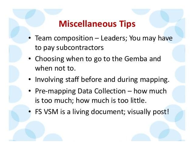 MiscellaneousTips • Teamcomposition– Leaders;Youmayhave topaysubcontractors • ChoosingwhentogototheGembaan...
