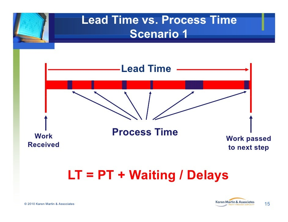 lead time reduction in process Customer lead time is defined as the time it takes for a customer to receive a good or service from the time the customer places an order, it can be viewed as the total lead time.